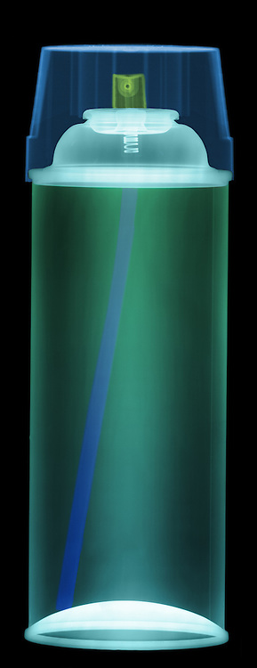 An X-ray of a spray paint can.