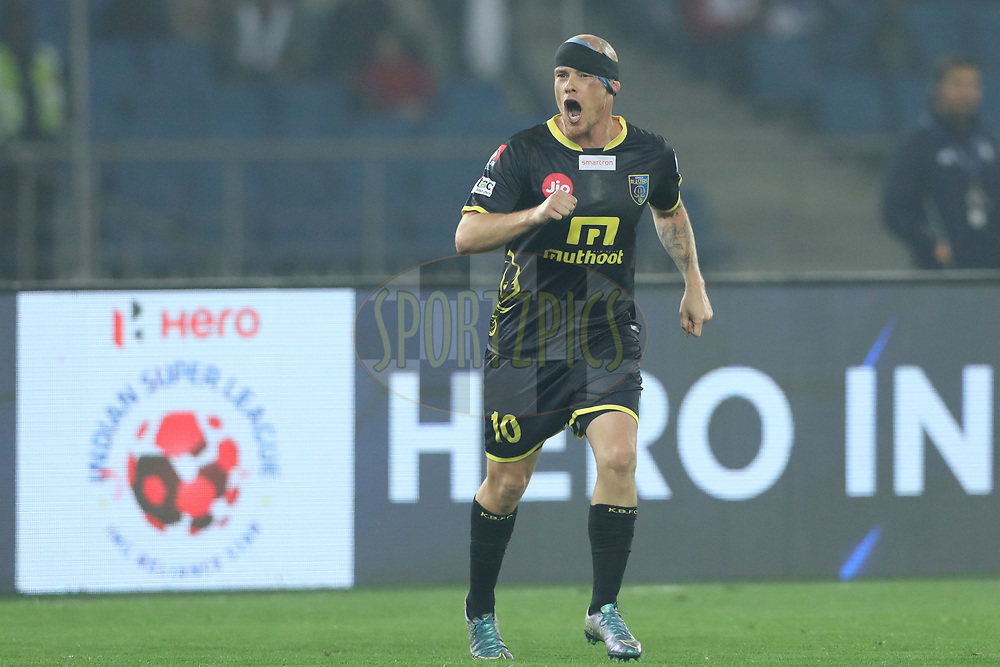 Iain Hume of Kerala Blasters FC during match 43 of the Hero Indian Super League between Delhi Dynamos FC and Kerala Blasters FC  held at the Jawaharlal Nehru Stadium, Delhi, India on the 10th January 2018<br /> <br /> Photo by: Arjun Singh  / ISL / SPORTZPICS