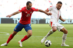 SAMARA, June 17, 2018  Marco Urena (L) of Costa Rica vies with Dusko Tosic of Serbia during a group E match between Costa Rica and Serbia at the 2018 FIFA World Cup in Samara, Russia, June 17, 2018. (Credit Image: © Ye Pingfan/Xinhua via ZUMA Wire)