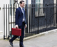 The Chancellor of The Exchequer George Osborne emerges from 11 Downing Street on Budget Day in Westminster, London.<br /> Picture by Paul Davey/Focus Images Ltd +447966 016296<br /> 16/03/2016