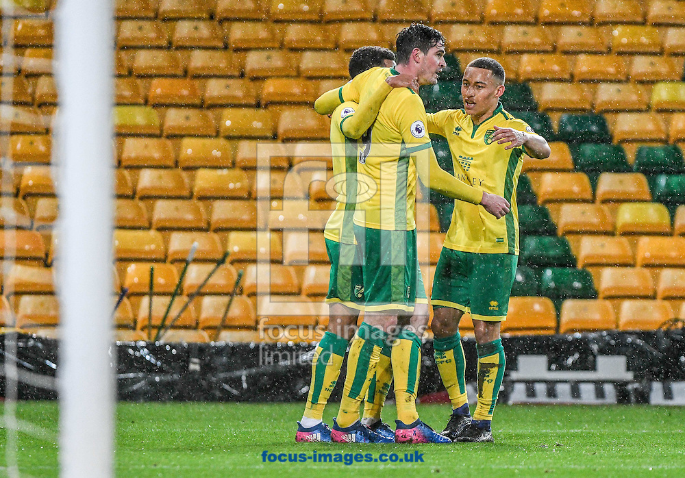Joshua Murphy of Norwich City U23 celebrates his goal v Dinamo Zagreb U23 during the Premier League International Cup Quarter-Final match at Carrow Road, Norwich<br /> Picture by Matthew Usher/Focus Images Ltd +44 7902 242054<br /> 27/02/2017