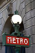 Metro sign, central Paris, France