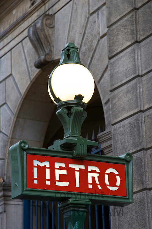 Metro sign, central Paris, France