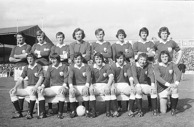 The Galway team before the start of the All Ireland Senior Gaelic Football Championship Final Cork v Galway in Croke Park on the 23rd September 1973. Cork 3-17 Galway 2-13.<br />