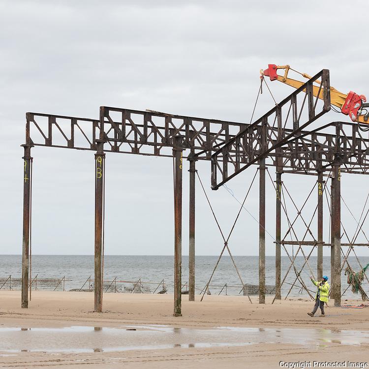 Demolition of Colwyn Bay pier, Conwy.