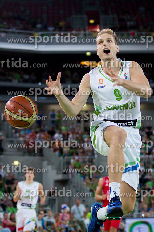 Jaka Blazic of Slovenia at friendly basketball match between National teams of Slovenia and Serbia, on August 27 in SRC Stozice, Ljubljana, Slovenia. Photo by Matic Klansek Velej / Sportida August 27, 2015