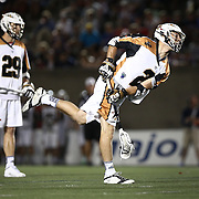 Dave Lawson #2 of the Rochester Rattlers follows through on a shot during the game at Harvard Stadium on August 9, 2014 in Boston, Massachusetts. (Photo by Elan Kawesch)