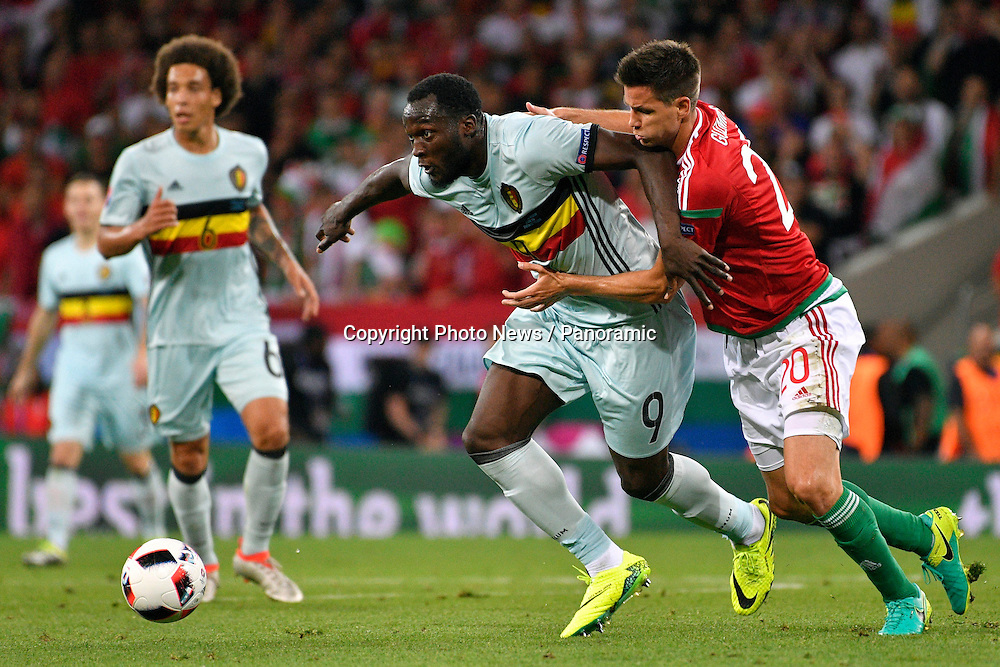 TOULOUSE, FRANCE - JUNE 26 : Romelu Lukaku forward of Belgium battles for the ball with Richard Guzmics defender of Hungary