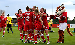 Bristol City Women celebrate Millie Farrow's opening goal against Oxford United Women - Mandatory by-line: Robbie Stephenson/JMP - 25/06/2016 - FOOTBALL - Stoke Gifford Stadium - Bristol, England - Bristol City Women v Oxford United Women - FA Women's Super League 2