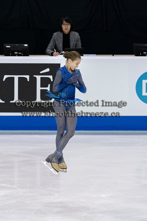 KELOWNA, BC - OCTOBER 26: Russian figure skater Alexandra Trusova competes during ladies long program of Skate Canada International held at Prospera Place on October 26, 2019 in Kelowna, Canada. (Photo by Marissa Baecker/Shoot the Breeze)