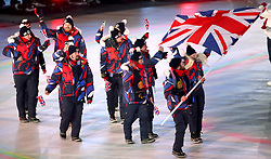 Team GB, led by flag bearer Owen Pick, during the opening ceremony of the PyeongChang 2018 Winter Paralympics at the PyeongChang Olympic Stadium in South Korea.
