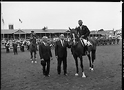 Guinness Competitions At The RDS Horse Show.(R39)..1986..09.08.1986..08.09.1986..9th August 1986..At the Dublin Horse Show at the RDS, Guinness sponsor several events,The Guinness Match International, The Novice Championship and the Guinness Tankard...Eddie Macken is pictured being presented with the Guinness Gold Tankard by Lord Iveagh. Eddie was named leading rider in the show. In the background is Captain Gerry Mullins who was runner up to Eddie.