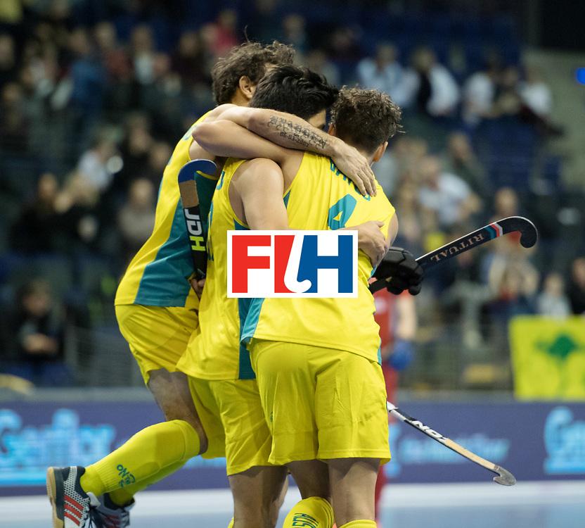 BERLIN - Indoor Hockey World Cup<br /> Quarterfinal 4: Australia - Belgium<br /> foto: Australia celebrate.<br /> WORLDSPORTPICS COPYRIGHT FRANK UIJLENBROEK