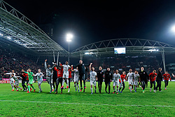 FC Utrecht celebrate with their support after the semi final KNVB Cup between FC Utrecht and Ajax Amsterdam at Stadion Nieuw Galgenwaard on March 04, 2020 in Amsterdam, Netherlands