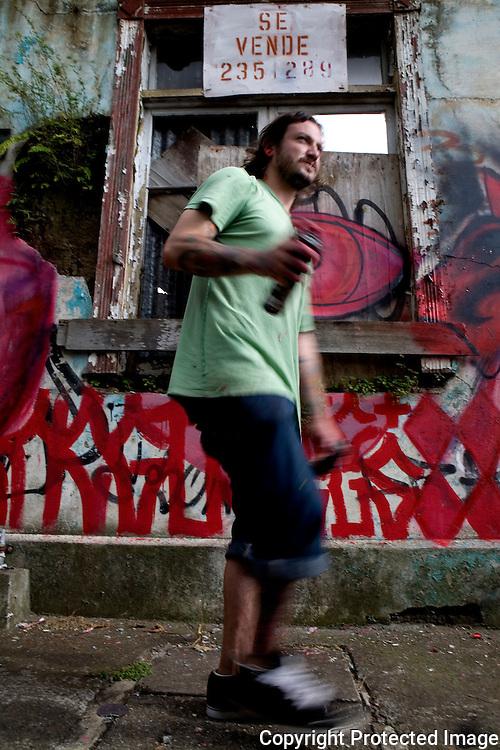 Negus bombing a wall in the barrio La California in San Jose Costa Rica.