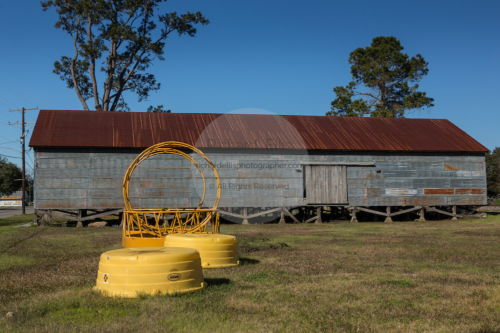 An old storage barn used to hold rice in rural Elton, Louisiana.