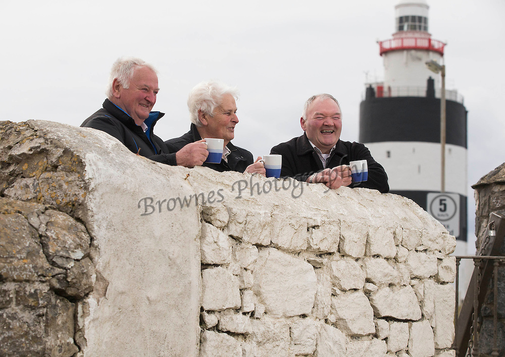 "REPRO FREE. 07/04/2013. Hook Lighthouse Keepers. Former lighthouse keepers of Hook Lighthouse are brothers Nicholas and Tux Tweedy and Martin Murphy announce the 'Calling all Lighthouse Keepers' Gathering at the world's oldest intact operational lighthouse, Hook Lighthouse in county Wexford to take place this September. Picture: Patrick Browne<br /> <br /> FREE TO USE IMAGES – Patrick Browne – 086 251 5700<br /> <br /> Sunday, April 7, 2013.<br /> For immediate release<br />  <br /> Shining a Light on Lighthouse Keepers at Hook Lighthouse Gathering<br />  <br /> Hook Lighthouse today (Sunday, April 7) announced a flagship Gathering Ireland event 'Calling all Lighthouse Keepers' which will take place at the world's oldest operational lighthouse this September 13 to 15 on the Hook Peninsula in county Wexford.<br /> <br /> A small gathering of some of the past Lighthouse keepers took place today at Hook Lighthouse to discuss plans for the upcoming occasion and to invite lighthouse keepers and enthusiasts from across the globe to this unique event.<br /> <br /> The 800-year-old lighthouse has a great history, it was built by William Marshal, Earl of Pembroke in the early 13th Century to guide ships safely around Hook Peninsula and has been attended by over 100 lighthouse keepers since around 1810 with the last keeper Tweedy, T.P. (Tux) keeping watch from 1990 to 1996 and currently attending the lighthouse which is automated with its' beacon rotating 24 hours a day 365 days of the year.<br />  <br /> Commenting on the plans for the gathering event. Hook Lighthouse Manager Ann Waters said, ""We are really excited about this event, it is something we have been working on for sometime with the Commissioners of Irish Lights. Hook Lighthouse is described as ""the grand-daddy of all lighthouses"" so where else could you hold a gathering for lighthouse keepers, their families, enthusiasts and societies from all over the world, there has been huge interest in the event so far with people coming from far and wide, in particular from the U.S. It will b"