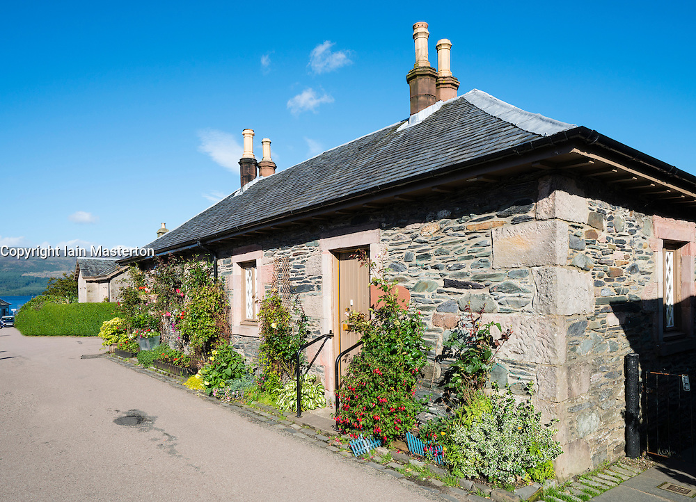 Traditional old cottages in historic village of Luss on banks of Loch Lomond, in Argyll and Bute, Scotland, United Kingdom