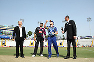 Match Referee Andy Pycroft looks on as Faisalabad Wolves captain Misbah-Ul-Haq Kana calls as Otago Volts captain Brendon McCullum tosses the coin during the Qualifier 1 match of the Karbonn Smart Champions League T20 (CLT20) between Otago Volts and the Faisalabad Wolves held at the Punjab Cricket Association Stadium, Mohali on the 17th September 2013<br /> <br /> Photo by Shaun Roy/CLT20/SPORTZPICS<br /> <br /> <br /> Use of this image is subject to the terms and conditions as outlined by the CLT20. These terms can be found by following this link:<br /> <br /> http://sportzpics.photoshelter.com/image/I0000NmDchxxGVv4<br /> <br /> ENTER YOUR EMAIL ADDRESS TO DOWNLOAD