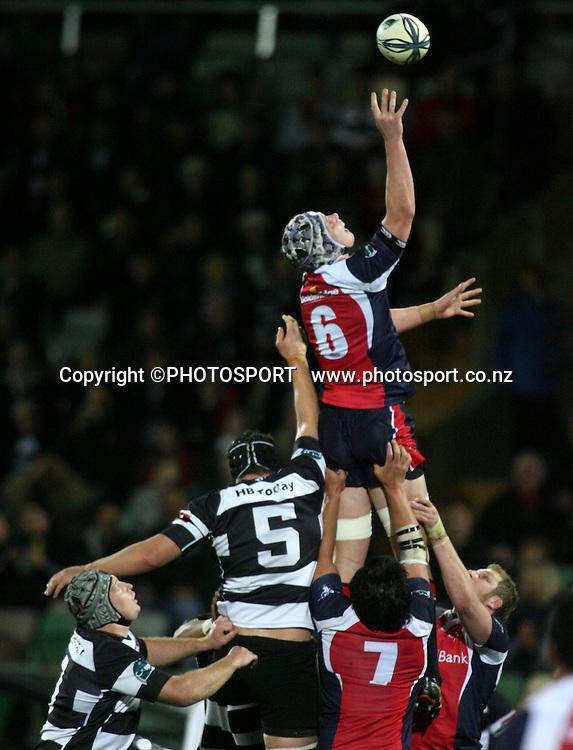 Tasman's Joe Wheeler takes a lineout ball. Air NZ Cup Rugby Match - Hawkes Bay v Tasman, McLean Park, Napier, 28 August 2009.  Photo: John Cowpland/PHOTOSPORT