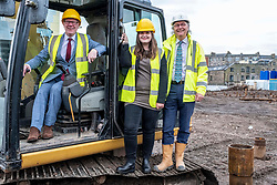 Pictured: Kevin Stewart, Councillor Kate Campbell, convenor of City of Edinburgh Housing and Economics Committee and Kith Anderson, Chief Executive, Port of Leith Housing Authority<br /> <br /> Housing Minister Kevin Stewart visited Waterfront Plaza in Edinburgh today and warned a no-deal Brexit could damage the future growth of the industry in Scotland as the latest new housing supply statistics were published.<br /> <br /> The minister met Keith Anderson, Chief Executive Port of Leith housing authority and Councillor Kate Campbell, convenor of City of Edinburgh Housing and Economics Committee.<br /> <br /> Ger Harley   EEm 24 September 2019