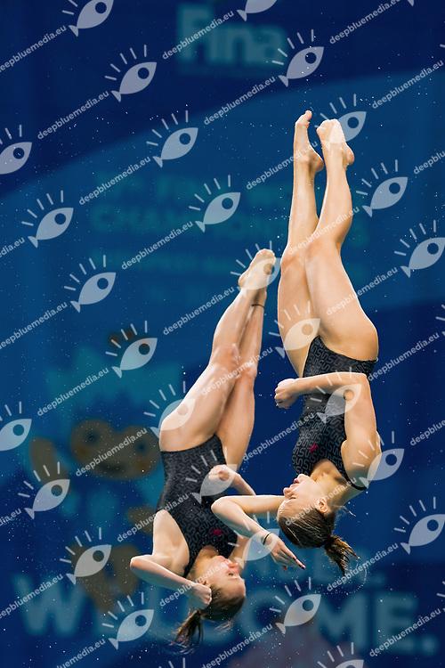 UKR LIULKO Valeriia-LYSKUN Sofiia<br /> Women's 10m Synchro Platform Preliminary round<br /> Diving  16/07/2017<br /> XVII FINA World Championships Aquatics<br /> Duna Arena Budapest Hungary <br /> Photo @G.Scala/Deepbluemedia/Insidefoto