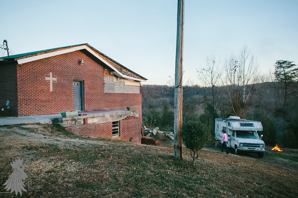 LaFollette, TN - Nov. 14, 2013: Exterior of the Tabernacle Church of God. The church, whose congregation regularly handles snakes as part of services, had their snakes confiscated in early November by the Tennessee Wildlife Resources Agency for violating a Tennessee law against handling serpents in church. <br /> <br /> Photo by Shawn Poynter