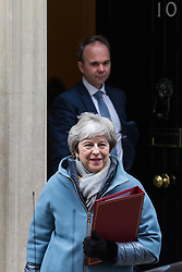 London, UK. 21st January, 2019. The Prime Minister Theresa May leaves 10 Downing Street with Chief of Staff Gavin Barwell to present an alternative strategy on Brexit in the House of Commons after the Government lost last Tuesday's vote on her Withdrawal Agreement by a record 230 votes.