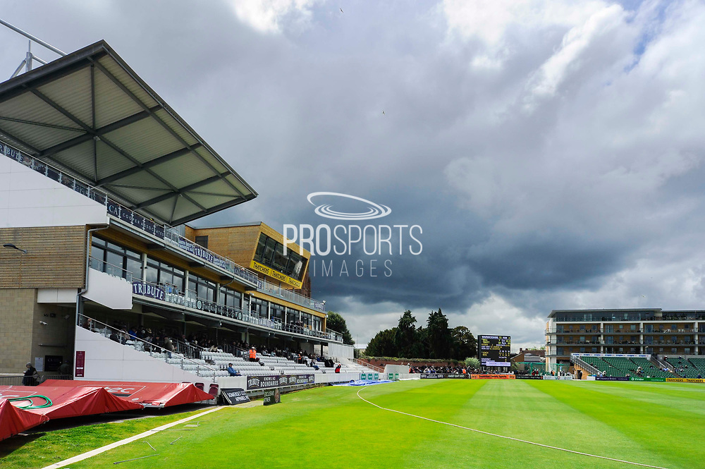 Storm clouds building to the South East of the County Ground which would eventually bring play to a halt with heavy rain during the Specsavers County Champ Div 1 match between Somerset County Cricket Club and Warwickshire County Cricket Club at the Cooper Associates County Ground, Taunton, United Kingdom on 19 May 2017. Photo by Graham Hunt.