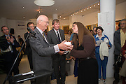 CHRISTOPHER MALLABY; PAUL HOOPER; REBECCA EAMES OF THE FINE ART PARTNERSHIP WINNER OF THE BEST DRESSED STAND FROM GALLERIES MAGAZINE, 20/21 British Art Fair. Celebrating its 25 Anniversary. The Royal College of Art . Kensington Gore. London. 12 September 2012.