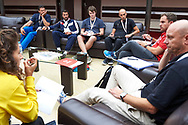 """Katowice, Poland - 2017 September 02: Workshop for coaches (2L) SO Ambassador Vladimir """"Vanja"""" Grbic a former Serbian volleyball player (he won a gold medal in the 2000 Summer Olympics and a bronze medal in 1996 at Atlanta) and (R) Miroslaw Krogulec (Senior Manager Organizational Development and Sports Europe Eurasia Region Special Olympics) and (2R) Special Olympics Europe Eurasia coordinator Tobias Staebler from Germany during European Unified Volleyball Tournament 2017 at Spodek Hall on September 02, 2017 in Katowice, Poland.<br /> <br /> Adam Nurkiewicz declares that he has no rights to the image of people at the photographs of his authorship.<br /> <br /> Picture also available in RAW (NEF) or TIFF format on special request.<br /> <br /> Any editorial, commercial or promotional use requires written permission from the author of image.<br /> <br /> Image can be used in the press when the method of use and the signature does not hurt people on the picture.<br /> <br /> Mandatory credit:<br /> Photo by © Adam Nurkiewicz / Mediasport"""