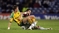 Photo: Paul Thomas.<br /> Burnley v Norwich City. Coca Cola Championship. 23/10/2007.<br /> <br /> Michael Spillane (L) of Norwich battles with Andy Gray.