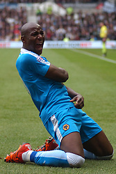 Wolves Benik Afobe Celebrates after scoring Wolves only goal at Derby,  Derby County v Wolves, Ipro Stadium, Sky Bet Championship, Sunday 18th October 2015 (Score Derby 4, Wolves, 1) Derby County v Wolves, Ipro Stadium, Sky Bet Championship, Sunday 18th October 2015