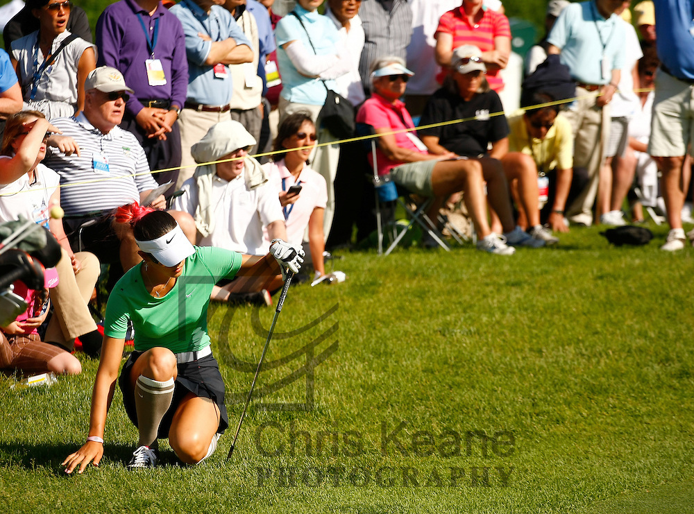 17 May 2012: Michelle Wie collapses as she looses her match during the first round of match play at the Sybase Match Play Championship at Hamilton Farm Golf Club in Gladstone, New Jersey on May 17, 2012.  (Photo by Chris Keane - www.chriskeane.com)