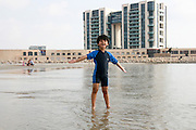 Israel, Herzliya The beach A young boy on the beach - model release available