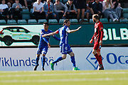 SUNDSVALL, SWEDEN - MAY 19: Linus Hallenius of GIF Sundsvall celebrates after scoring to 1-2 during the Allsvenskan match between GIF Sundsvall and Ostersunds FK at Idrottsparken on May 19, 2018 in Sundsvall, Sweden. Photo: Nils Petter Nilsson/Ombrello ***BETALBILD***