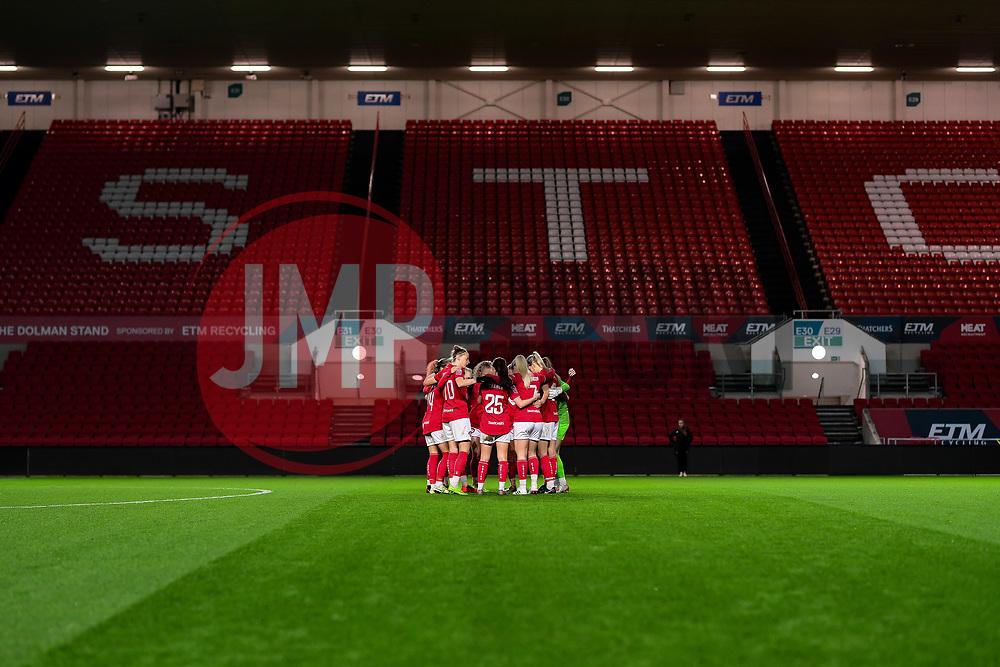 Bristol City Women huddle prior to kick off - Mandatory by-line: Ryan Hiscott/JMP - 17/02/2020 - FOOTBALL - Ashton Gate Stadium - Bristol, England - Bristol City Women v Everton Women - Women's FA Cup fifth round