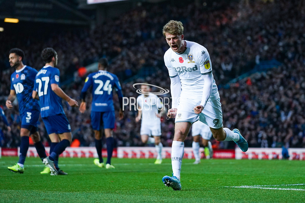 Leeds United forward Patrick Bamford (9) scores a goal and celebrates to make the score 1-0 during the EFL Sky Bet Championship match between Leeds United and Blackburn Rovers at Elland Road, Leeds, England on 9 November 2019.