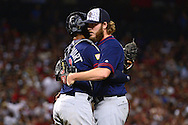 PHOENIX, AZ - JULY 04:  Brandon Maurer #37 of the San Diego Padres is congratualted by Christian Bethancourt #12 after closing out the game against the Arizona Diamondbacks at Chase Field on July 4, 2016 in Phoenix, Arizona.  The San Diego Padres won 8-4. (Photo by Jennifer Stewart/Getty Images)