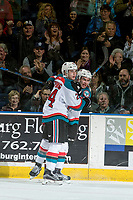 KELOWNA, CANADA - MARCH 11: Kyle Topping #24 and Dillon Dube #19 of the Kelowna Rockets celebrate a second period goal against the Victoria Royals on March 11, 2017 at Prospera Place in Kelowna, British Columbia, Canada.  (Photo by Marissa Baecker/Shoot the Breeze)  *** Local Caption ***