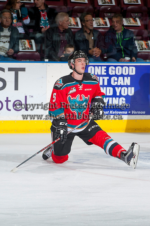 KELOWNA, CANADA - NOVEMBER 26: Konrad Belcourt #5 of the Kelowna Rockets stretches on the ice during warm up against the Regina Pats on November 26, 2016 at Prospera Place in Kelowna, British Columbia, Canada.  (Photo by Marissa Baecker/Shoot the Breeze)  *** Local Caption ***