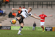 Port Vale forward AJ Leitch-Smith  with a shot during the Sky Bet League 1 match between Port Vale and Coventry City at Vale Park, Burslem, England on 7 February 2016. Photo by Simon Davies.