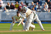 Jamie Overton of Somerset plays an attacking shot in the air which is nearly caught by Liam Livingstone of Lancashire during the Specsavers County Champ Div 1 match between Somerset County Cricket Club and Lancashire County Cricket Club at the Cooper Associates County Ground, Taunton, United Kingdom on 5 September 2018.