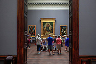 Tourists admired Raphael's Sistine Madonna, he Zwinger Gallery in  Dresden Germany on the Elbe River in Germany.<br /> Photo by Dennis Brack