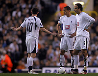 Photo: Paul Thomas.<br /> Tottenham Hotspur v Sevilla. UEFA Cup. Quarter Final, 2nd Leg. 12/04/2007.<br /> <br /> Dejected (L-R) Spurs players Robbie Keane, Jermain Jenas and Dimitar Berbatov.