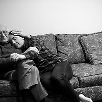 Mt. Laurel, NJ - Elizabeth Wolf, 35, embraces her father, Lou Brood, 81.  Wolf moved home to New Jersey 5 years ago and has been caring full-time for her parents who both have Alzheimer's.