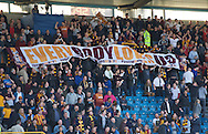 Bradford City fans with a banner during the Sky Bet League 1 Playoff Semi-final Leg Two at The Den, London<br /> Picture by Alan Stanford/Focus Images Ltd +44 7915 056117<br /> 20/05/2016