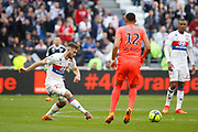 Lucas Tousart of Lyon and Sylvio Rodelin of Caen during the French Championship Ligue 1 football match between Olympique Lyonnais and SM Caen on march 11, 2018 at Groupama stadium in Decines-Charpieu near Lyon, France - Photo Romain Biard / Isports / ProSportsImages / DPPI