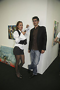 Lara Baumann and Milan Nedelkovic, The Professional View and Private View of Frieze Art Fair. London. 11 october 2006. -DO NOT ARCHIVE-© Copyright Photograph by Dafydd Jones 66 Stockwell Park Rd. London SW9 0DA Tel 020 7733 0108 www.dafjones.com