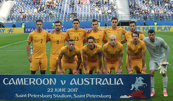June 22, 2017 - Saint Petersburg, Russia - Players of the Australia national football team vie for the ball during the 2017 FIFA Confederations Cup match, first stage - Group B between Cameroon and Australia at Saint Petersburg Stadium on June 22, 2017 in St. Petersburg, Russia. (Credit Image: © Igor Russak/NurPhoto via ZUMA Press)